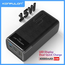 LED Type C Input/Output Powerbank 40000 mah Two Way Quick Charge Power Bank 15W PD External Battery Charger For iPhone Xiaomi