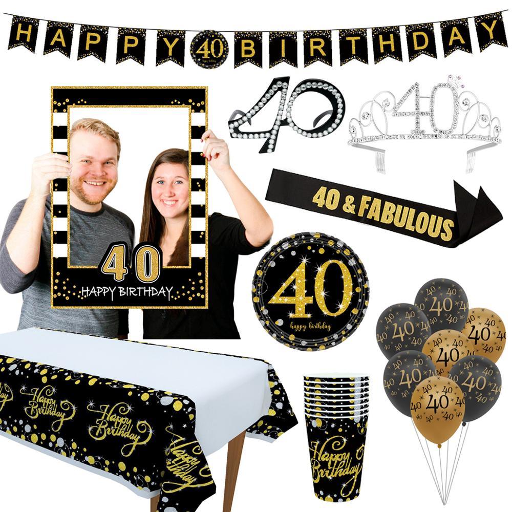 Cheer 40 Black Gold Balloon Happy Birthday 40 Years Balloons 40th Birthday Party Decoration Adults Foil Latex Baloon 40 Birthday