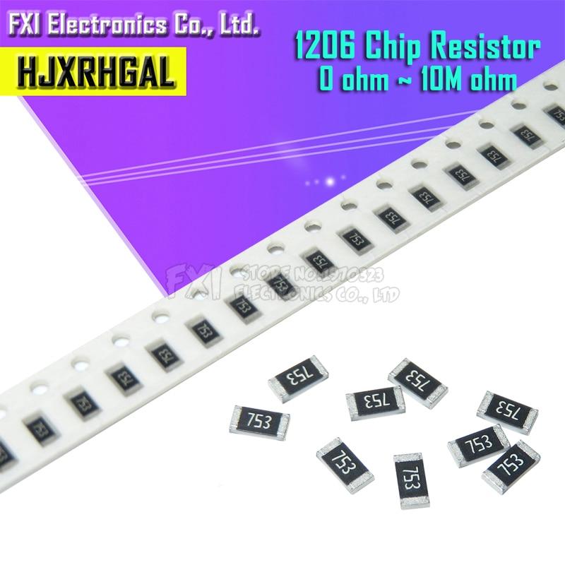100 шт. 1206 SMD резистор 0R ~ 10M 1/2 Вт, для детей 0, 1, 10 100 150 220 330 Ом 1K 2,2 K 10K 100K 0R 1R 10R 100R 150R 220R 330R
