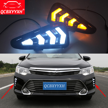QCBXYYXH Car-styling 12V Turning Yellow Signal LED DRL Daytime Running Light Daylight lamps Decorate For Toyota Camry 2015-2017