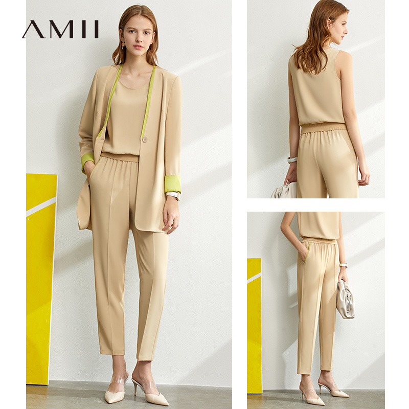 Amii Minimalism Sping Summer Suit Set Oneck Sleeveless Vest Women High Waist Pants Lady Chiffon Suit Coat 12060912