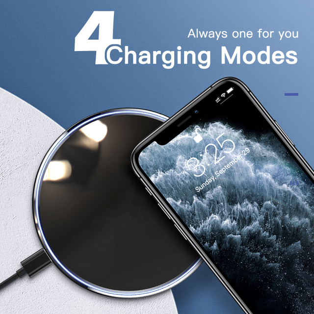 FDGAO 15W Fast Wireless Charger For Samsung Galaxy S20 S10 S9 Qi Induction Charging Pad for iPhone 12 Mini 11 Pro XS Max XR X 8 3