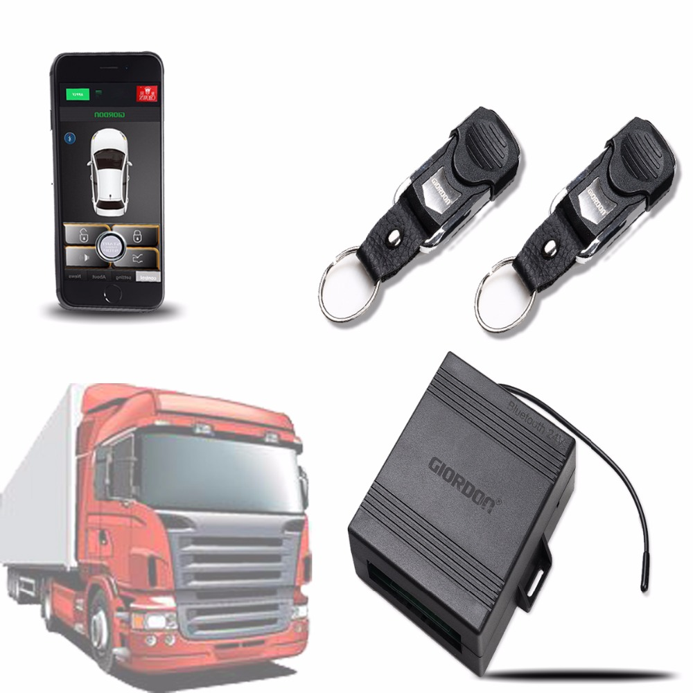 24v Auto Central Locking System Universal With Car Alarm Security Mobile Phone App Keyless Entry System With 2 Remote Control Fo