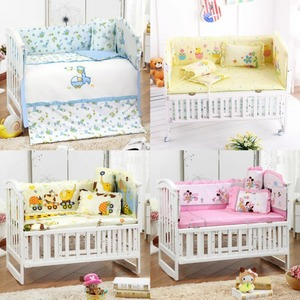 5Pcs/Set Cotton Print Breathable Baby Bedding Bumper Collision Protector Baby Bumper Crib Set Safety Rails Bedding Supplies(China)