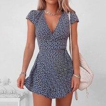 Женские летние платья 2020 сексуальный v-образный вырез Цветочный принт в стиле «Бохо пляжное платье дамы с короткими рукавами трапециевидно...