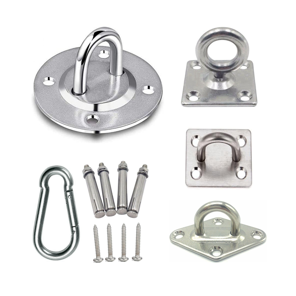 Stainless Suspension Hammock Carabiners Ceiling Hooks Bracket Trapeze Swing Kit Hangers For Hammock Aerial Yoga Hanging Chair(China)