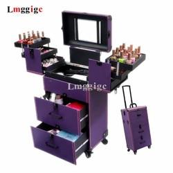 Estuche cosmético multicapa de gran capacidad para mujeres, caja de herramientas para artistas de maquillaje, caja de herramientas para maquillaje de uñas, cubierta de carrito para tatuajes de belleza, equipaje