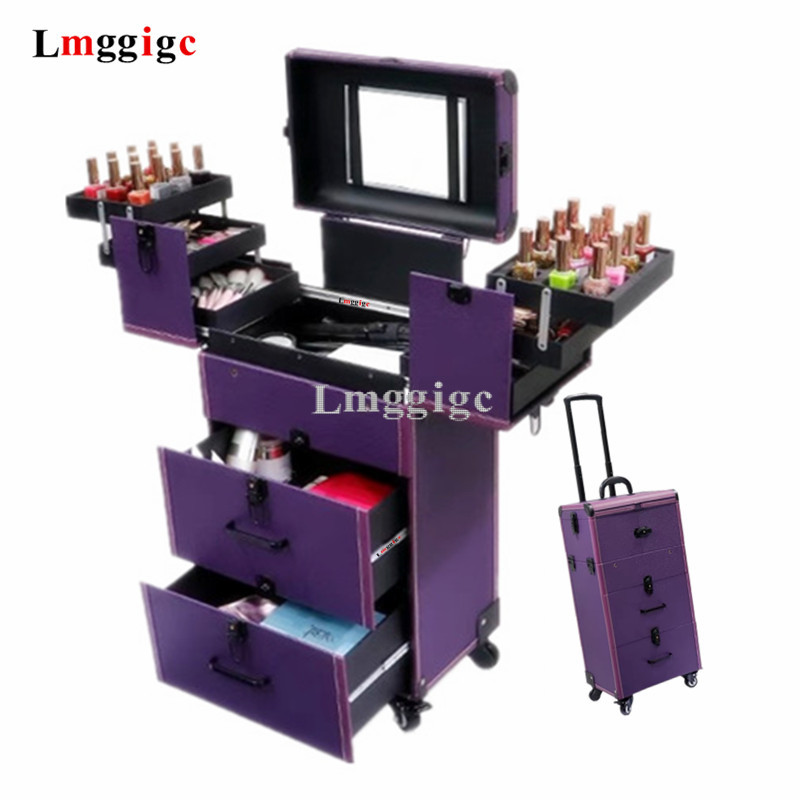 Women's Large Capacity Multilayer Cosmetic Case,Makeup Artist Toolbox,Make-up Nails Tools Box,Beauty Tattoo Trolley Case,Luggage
