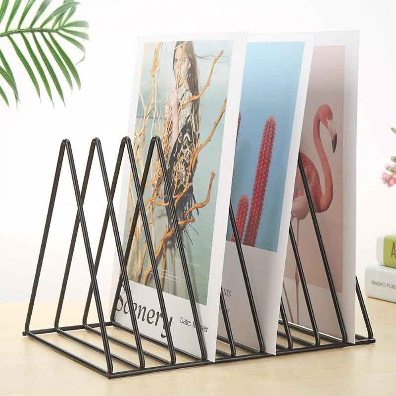 Classic NordicTriangle Simple Wrought Iron Book Shelves Iron Spray Paint Material Wear Office Rack Stationery Organizer Holder