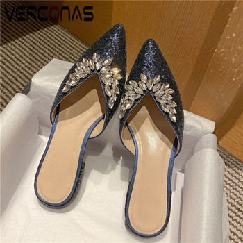 VERCONAS  2020 Sweet Mules Woman Sandals Woman Pumps Woman Sandals Brand Design Rhinestone Pointed Toe Square Heels Shoes Woman