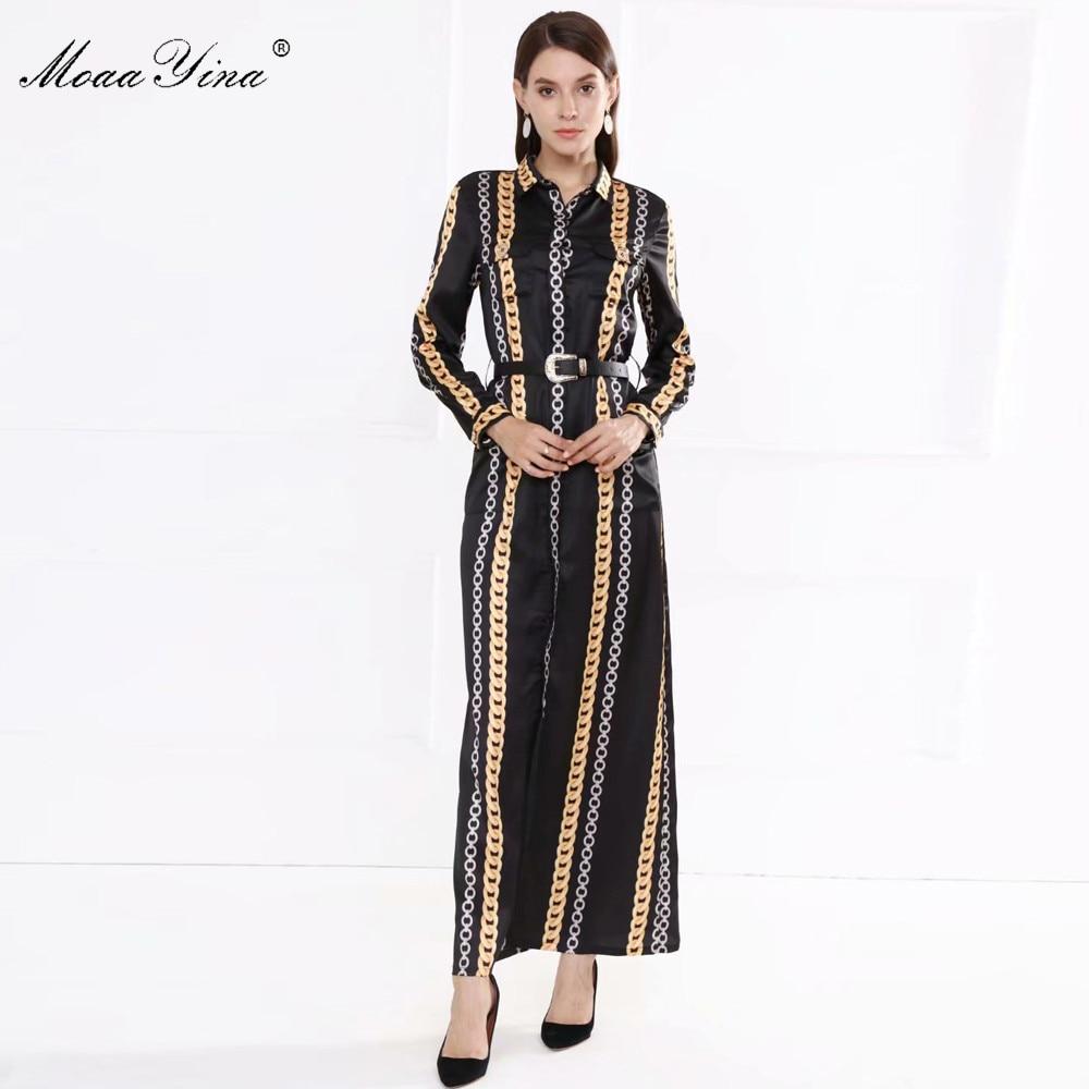 MoaaYina Fashion Designer dress Spring Autumn Women's Dress Long sleeve Stripe Print Belt Vintage Maxi Dresses
