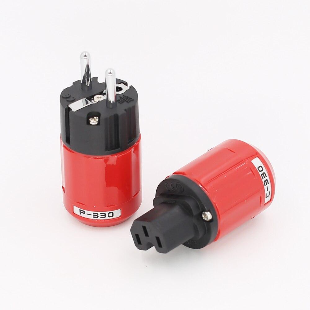 5 Pair Hi-end P-046E Gold Plated EU Power plug C-046E IEC Connector Series DIY