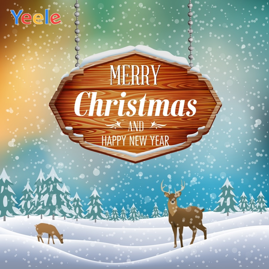 Yeele Christmas Party Wonderland Snow Elks Painting Photography Backdrops Personalized Photographic Backgrounds For Photo Studio