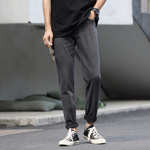 Autumn New Jeans Men Stretch Slim Fashion Washed Solid Color Casual Denim Trousers Man Streetwear Hip Hop Pants