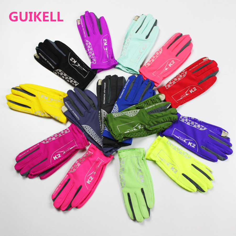 GUIKELL spring and summer mobile phone touch screen mountaineering,antiskid fingered gloves