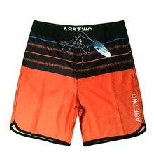 Drop Shipping Waterproof Beachwear Swim Trunks New Men Quick Dry Striped Boardshorts Male Bandage Swimsuit Surf Shorts