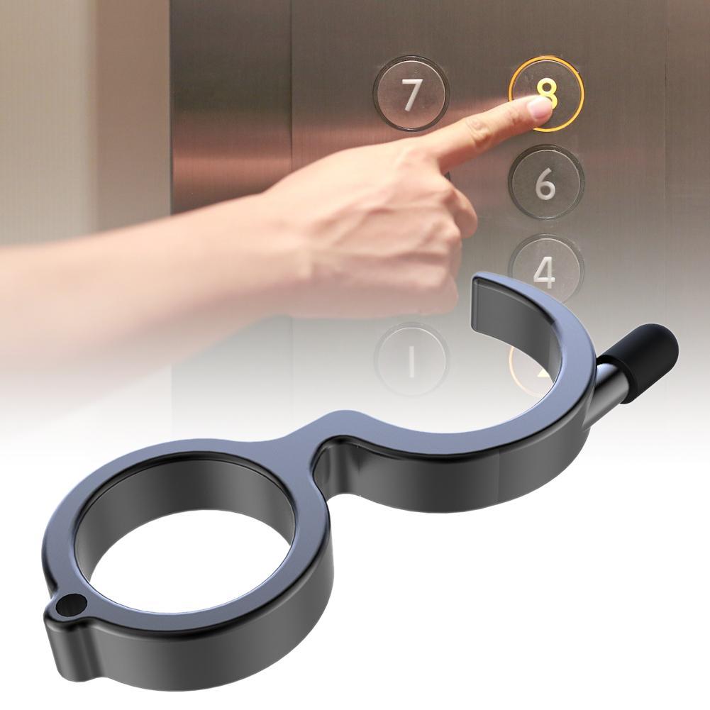 1pcs Door Opener Keychain Portable Stick Non-contact Hygiene Hand Press Elevator Tool Door Handle Avoid Touching Key Buckle
