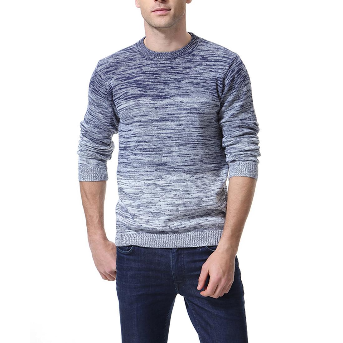 2020 Spring New Style Men Gradient Sweater Coat Youth Men'S Wear Crew Neck Knit Low Waist Jersey Xy963