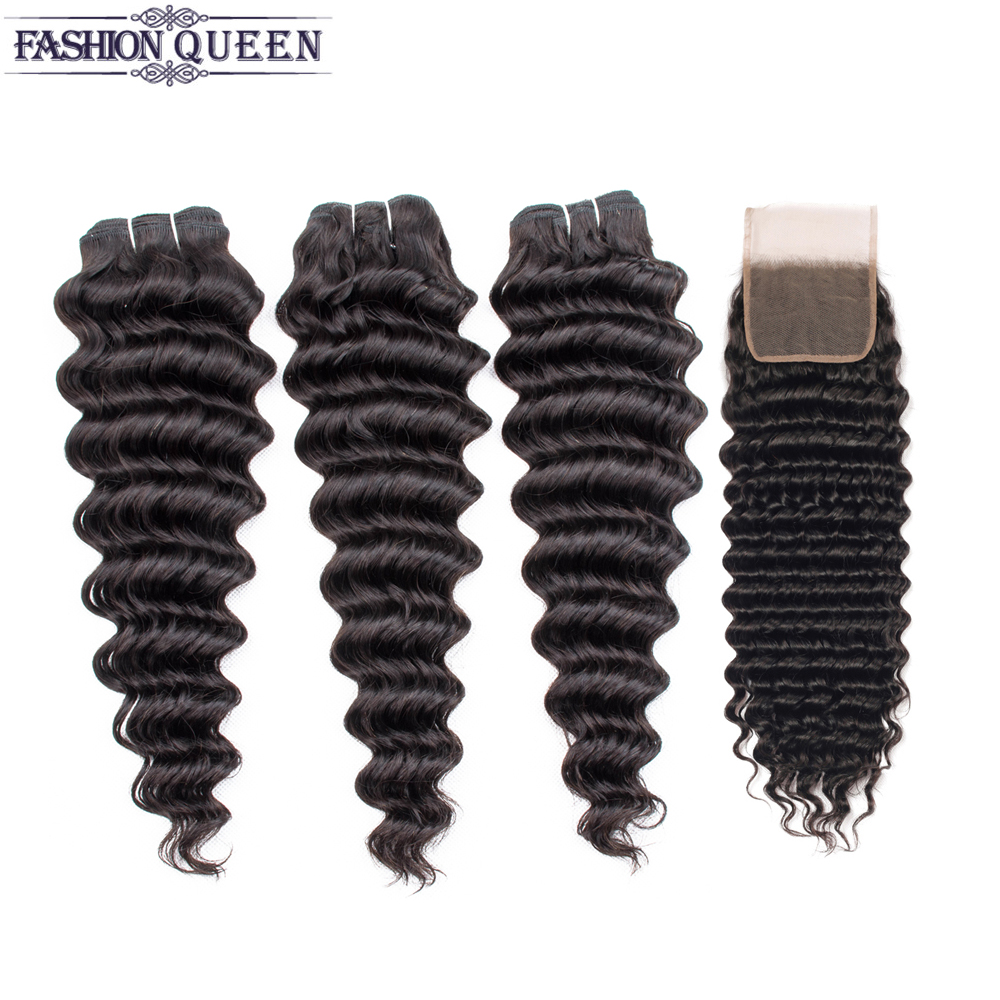 Deep Wave Bundles With Closure Brazilian Hair Weave Bundles With Lace Closure Human Hair Bundles With Closure Remy Fashion Queen