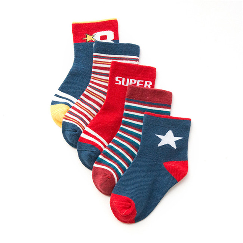 5 Pairs/lot Autumn Winter Kawaii Kids Cotton Socks Boy,Girl,Baby,Infant Fashion Cartoon Warm Sports Socks,For Children Gifts CN