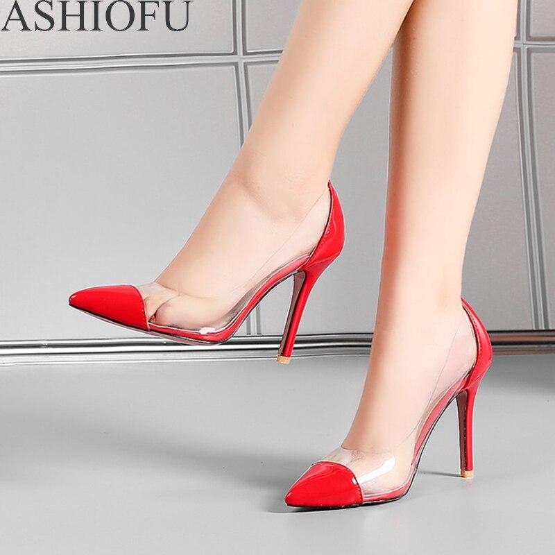 ASHIOFU Handmade Ladies High Heel Pumps Classic Party Prom Dress Shoes Slip-on PVC Leather Fashion Court Shoes