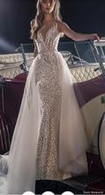 סאני 2020 סקסי עמוק V צוואר חתונת שמלות פשוט ללא משענת חוף חתונת שמלת Vestido דה Noiva Praia HA132
