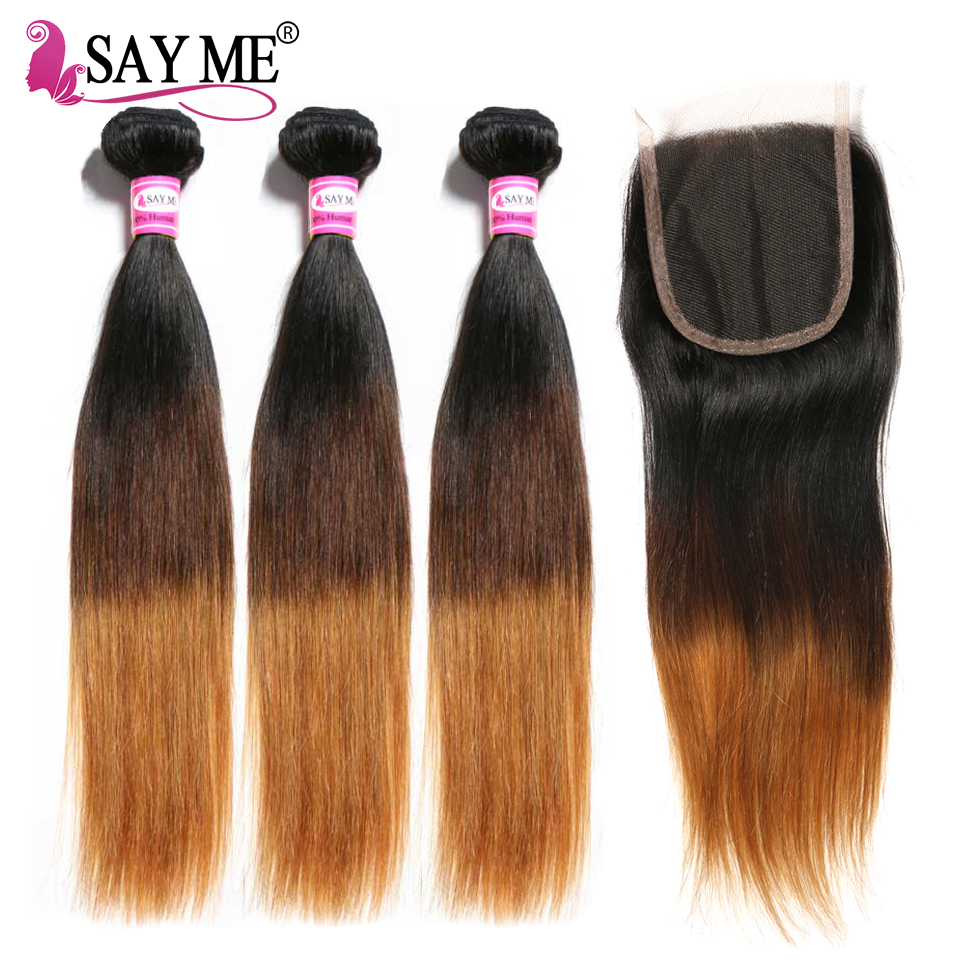 Image 3 - SAY ME 3 Tone Ombre Straight Human Hair Bundles With Closure 1B/4/27 30 Peruvian Hair Bundles With 4*4 Lace Closure Remy Weave-in 3/4 Bundles with Closure from Hair Extensions & Wigs