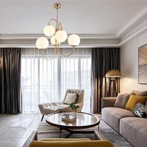 Image 5 - Современный подвесной светильник в скандинавском стиле золотого цвета с 6 стеклянными шариками, лампа молочного белого цвета для столовой, бара, ресторана, подвеска, Светодиодная лампа E27