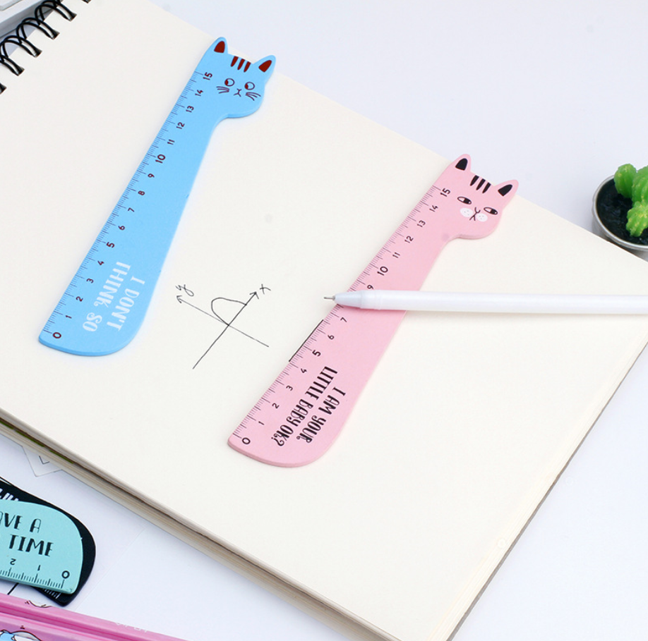 Animals Cute Cat Straight Ruler Measuring Tool School Supplies Office Stationary Accessory Study Drawing Student Gift