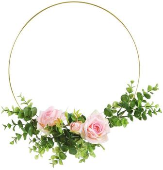 6 Pack 12 Inch Large Metal Floral Hoop Wreath Macrame Gold Hoop Rings for DIY Wedding Wreath Decor, Dream Catcher and Macrame W