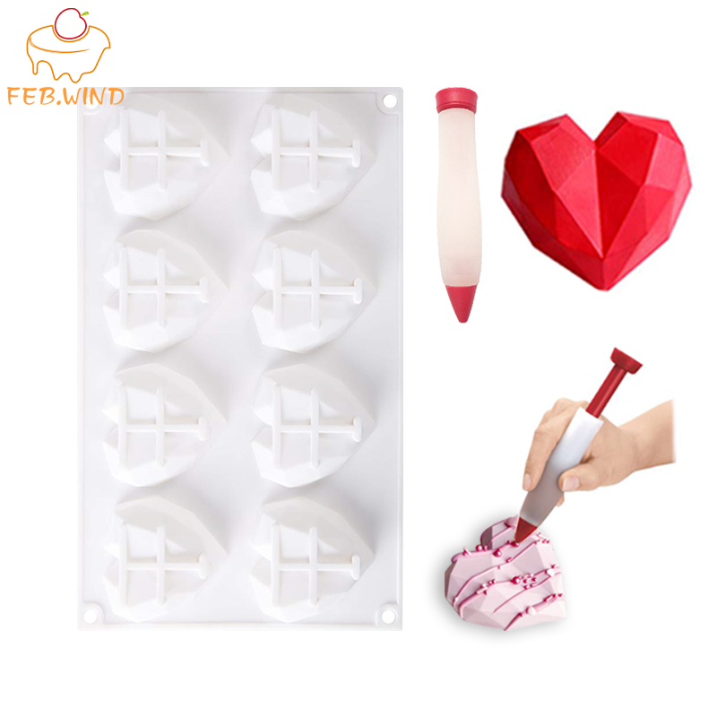 Heat Resistance Diamond Silicone Heart Cupcake Pan 3D Resin Geometric Heart Mold/Mould Hearts Shaped Muffin Pan For Baking   183
