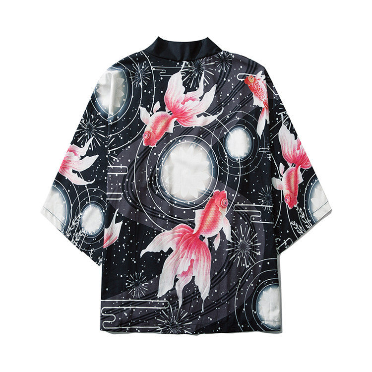 Harajuku Antique Style Japanese-style Kimono Three-quarter Sleeve T-shirt Printed Red Carp Robes Kimono Cardigan Men And Women-F