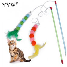 Interactive Pet Cat Playing Sticks Feather Funny Toy With Bell Educational Toys For Katten Gatos Supplies Products