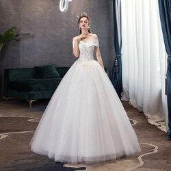 Gryffon Wedding Dress 2019 Elegant Boat Neck Luxury Lace Beading Ball Gown Princess Bling Bling Sequins Wedding Dress