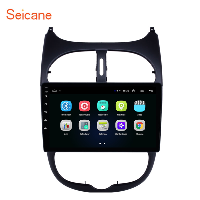 Seicane 9'' <font><b>2din</b></font> Android 8.1 2.5D Screen Car GPS Multimedia Player for <font><b>Peugeot</b></font> <font><b>206</b></font> 2000-2014 2015 2016 support DVR OBDII DAB+ image