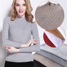 New Autumn and Winter Sweater Bottoming Shirt Womens Knitwear Slim Casual Grey Warm Wool Young Female Lady