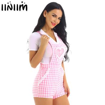 iiniim Adult Womens Cute ABDL Clothing Baby Patch Criss-cross Back Gingham Print Babydoll Short Overalls Shortalls Jumpsuits 1