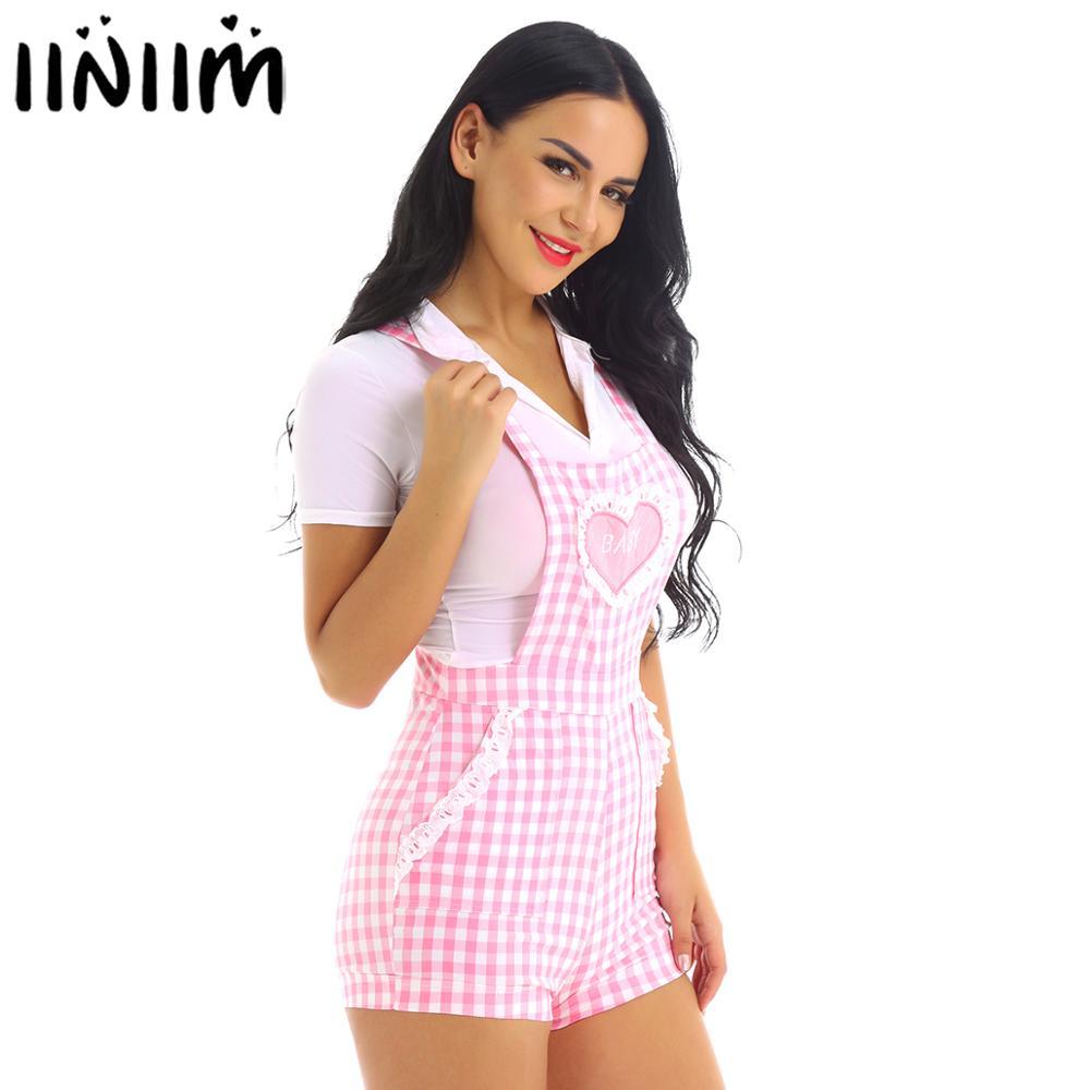 Iiniim Adult Womens Cute ABDL Clothing Baby Patch Criss-cross Back Gingham Print Babydoll Short Overalls Shortalls Jumpsuits