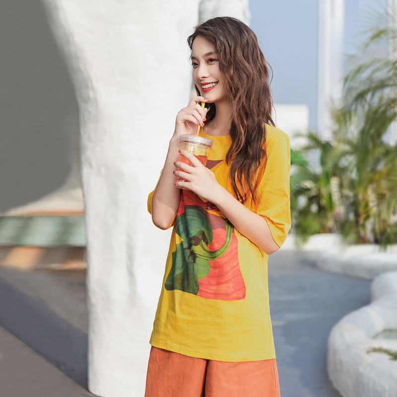 INMAN 2020 Summer New Arrival Cotton Literary Fruit Print Loose Casual Fashion Half Sleeve T-shirt