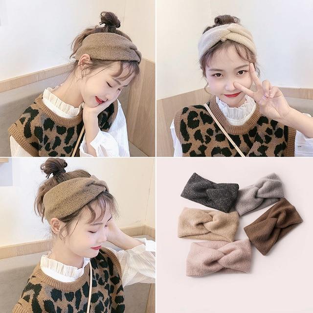 Women Solid Knitting Cross Knot Woolen Warm Headbands Hair Holder Elastic Hairbands Turban Headwraps Fashion Hair Accessories 4