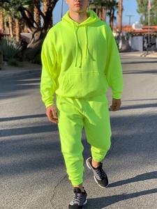 OMSJ Fashion Tracksuit Hoody Long-Sleeve Neon Swearpants Green-Style 2pieces Casual Men's