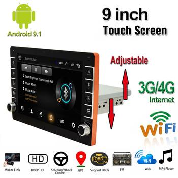 9 inch 1Din Android 9.1 1080P Touch Screen Car Stereo Radio With  Adjustable BT Knob Quad-core GPS Wifi 3G 4G