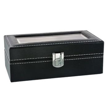 Caja de cuero de PU de alta calidad negra de rejilla con 8 ranuras, caja de reloj de concha elástica, cajas de almacenamiento Caja expositor de relojes soporte de almacenamiento