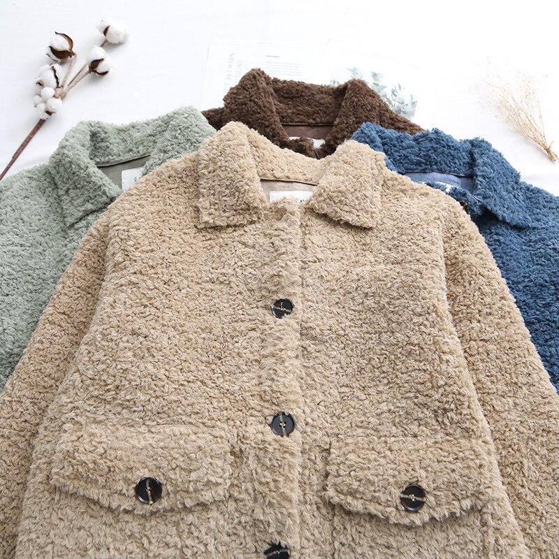 Chaquetas de lana de cordero grueso coreano ropa de mujer chaqueta de invierno Vintage de talla grande abrigo femenino chaquetas de mujer tapas Ll006 - 4