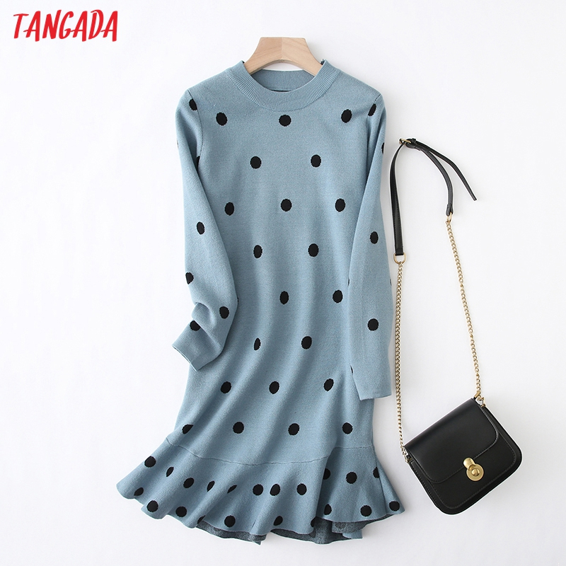 Tangada Women Dots Knitted Sweater Dress Elegant Long Sleeve Ruffles 2019 Autumn Winter Lady Knit Midi Dress YU27