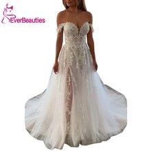Vestido De Noiva Off The Shoulder Boho Wedding Dresses 2020 Tulle Lace Appliques Beach Bridal Wedding Gown
