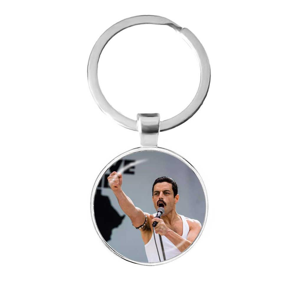 Freddie MERCURY 25 มม.แก้ว Cabochon Keychains เครื่องประดับเครื่องประดับน่ารักสำหรับผู้ชายผู้หญิง Key แหวน Key ผู้ถือของขวัญ