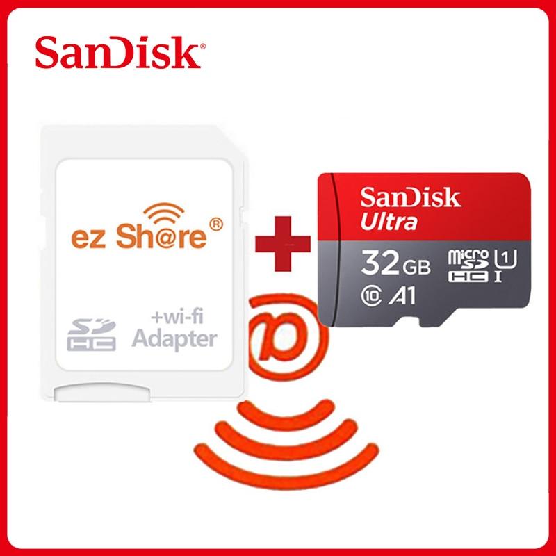 Ezshare sem fio wifi adaptador sandisk ultra 16gb 32gb class10 microsd wifi sem fio tf cartão micro cartão sd 64gb 128gb cartão de memória Cartões de memória    -