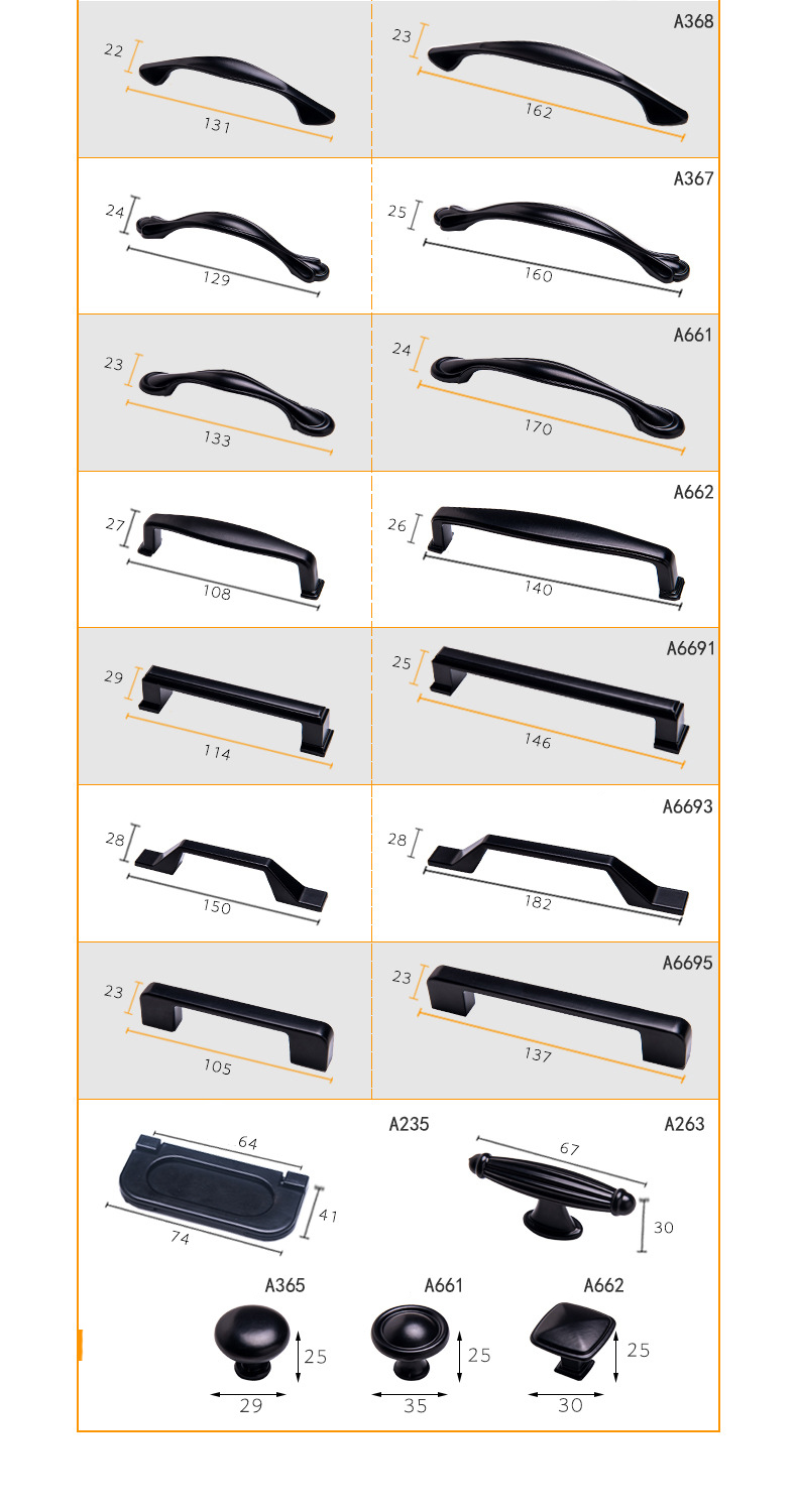 Hbb9f089bff394fc1a311da4b60d26bd2d - American Modern Style Black Cabinet Handles Solid Aluminum Alloy Kitchen Cupboard Pulls Drawer Knobs Furniture Handle Hardware