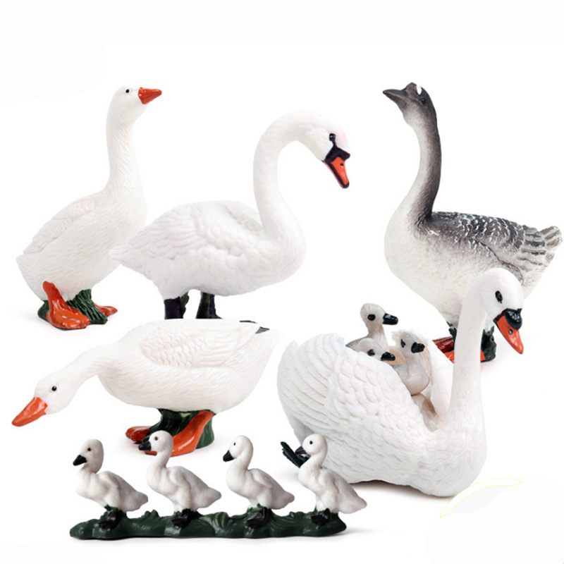 Swan Series Animal Figure Collectible Toys Farm Animal Cognition Action Figures Kids Plastic Cement Toys image